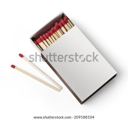 Open Box of Matches With Copy Space Isolated on White Background.with clipping path - stock photo