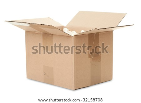 open box on a white background - stock photo