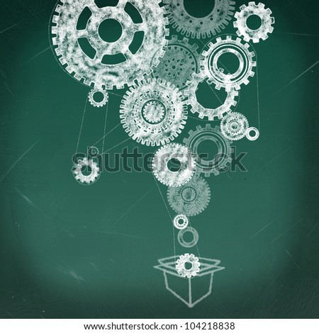 Open box with a gear inside and gears all over, thinking outside the box concept - stock photo