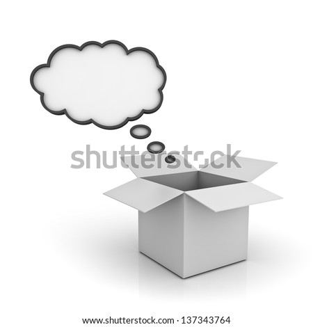 Open Box with blank thought bubble over white background with reflection , Think outside the box concept - stock photo
