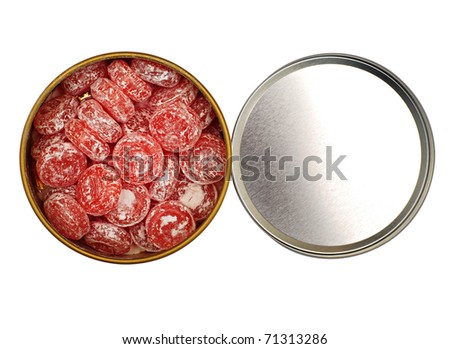 Open box with candy isolated over white - stock photo