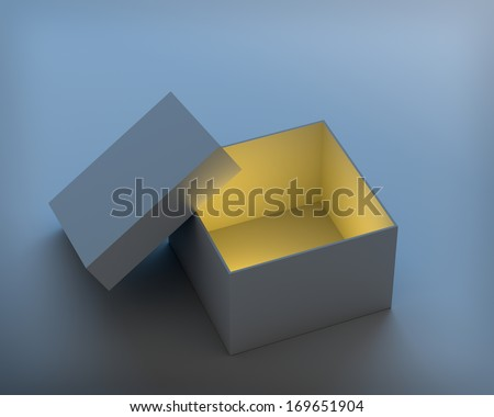 Open box with cap on blue background. 3D render. - stock photo