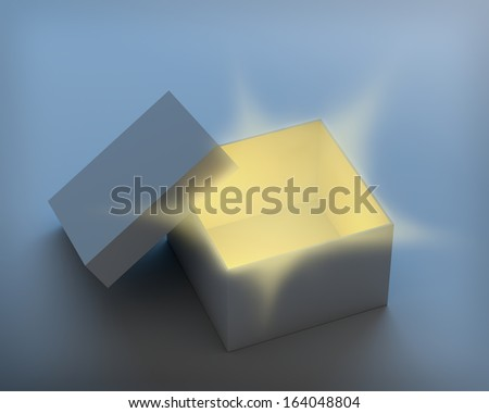 Open box with magic light rays from inside. 3D render with needed clipping paths. - stock photo