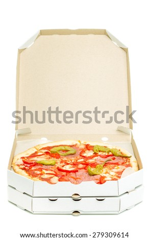 Open box with pizza isolated on white background. Fast  food delivery object. - stock photo