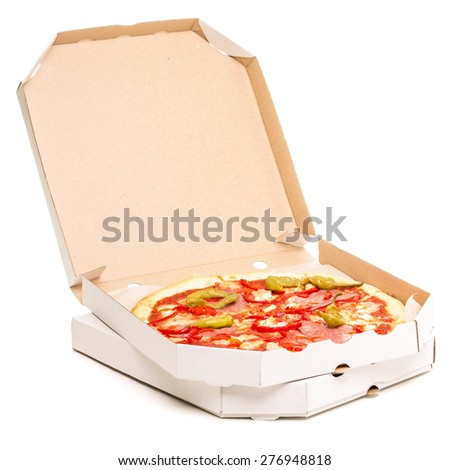 Open box with pizza. Spicy pizza Diabolo in carton boxes isolated on white background - stock photo