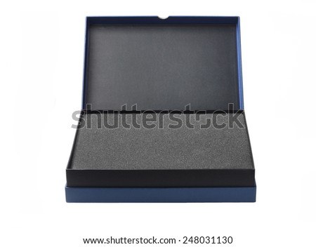 Open Box With Protective Packaging Sponge Foam On White Background - stock photo