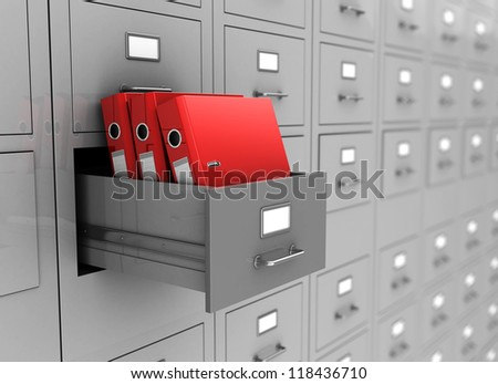 Open box with three red folders, 3d image - stock photo