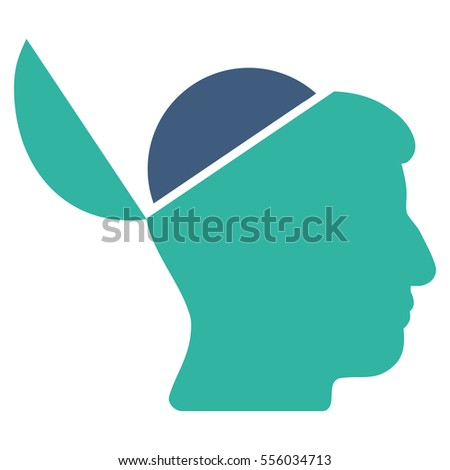 Open Brain glyph pictograph. Style is flat graphic bicolor symbol, cobalt and cyan colors, white background.