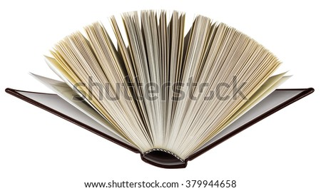 Open brown book isolated on white background with clipping path for your design.