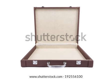 Open brown case isolated on white - stock photo