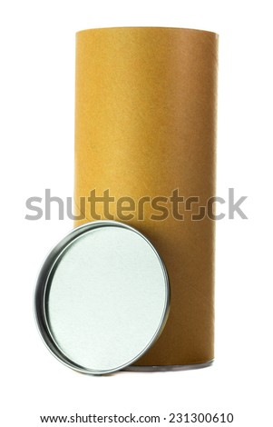 Open brown cylinder tube container isolated on white background - stock photo