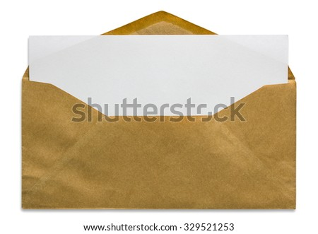 open brown envelope with blank letter isolated on white background