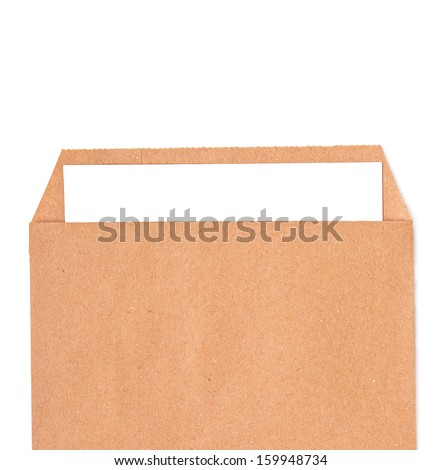 Open brown envelope with paper letter inside on white background - stock photo