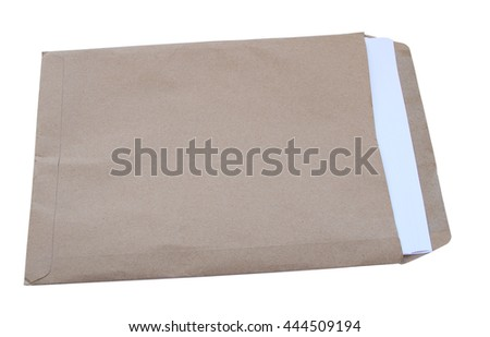 Open brown envelope with paper letter inside on white background. - stock photo
