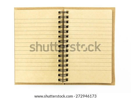 open brown notebook isolated on white background