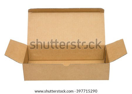 Open brown packing cardboard box. Isolated on white background. Front view. No shadow. - stock photo