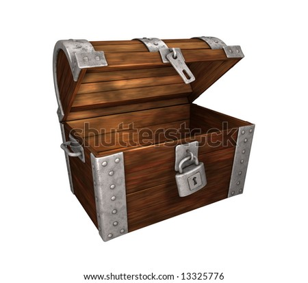 open but empty treasure chest. on white background, easy to isolate.check my portfolio for open chests.