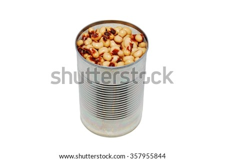 Open can of blackeyed peas on a white background - stock photo