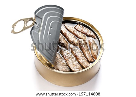 Open can of tinned sardines on white background - stock photo