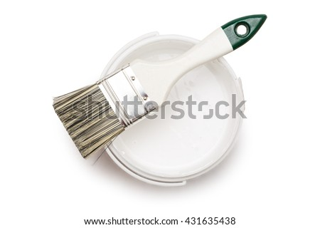 Open can of white paint with brush - stock photo