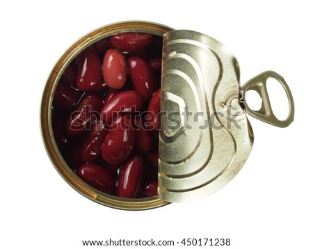 Open can with red kidney bean isolated on white - stock photo