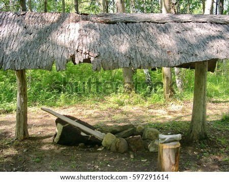 Open canopy in the Evenk settlement in the pine forest. Ethnographic Open-Air Museum & Evenki Stock Images Royalty-Free Images u0026 Vectors | Shutterstock