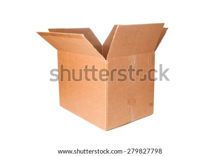 Open cardboard box closeup - stock photo