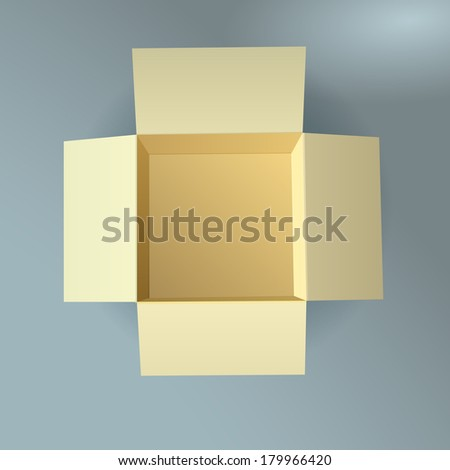 Open cardboard box, corrugated, top view with soft shadow - stock photo