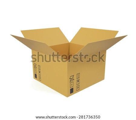 Open cardboard box for shipping goods. 3d illustration High resolution - stock photo