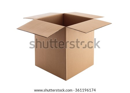Open Cardboard box isolated on a white background with clipping path - stock photo