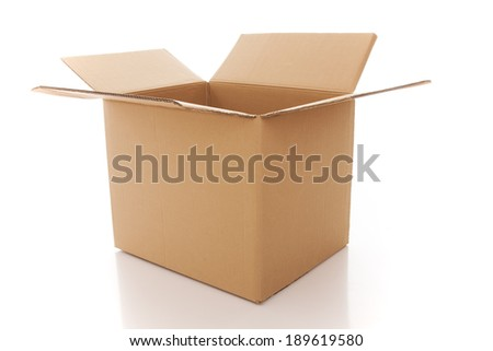 Open cardboard box isolated on white - stock photo