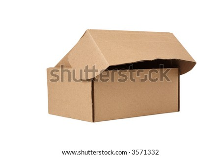 Open cardboard box. Isolated on white