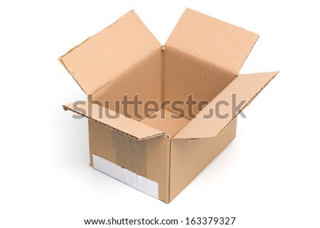 Open Cardboard Box, isolated on White Background