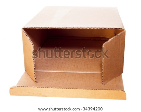 Open cardboard box isolated on white background.