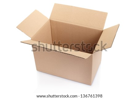 Open cardboard box isolated on white, clipping path included - stock photo