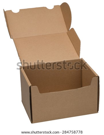 Open cardboard box  isolated on white. No shadow. - stock photo