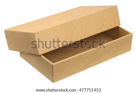 Open cardboard box. Object is isolated on white background without shadows.