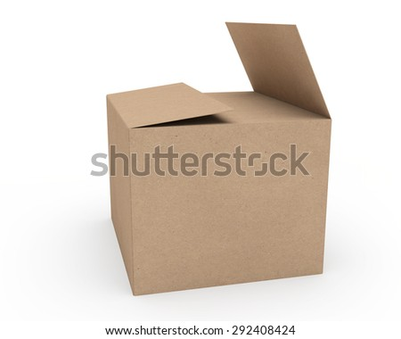 open cardboard box of the recycled paper - stock photo