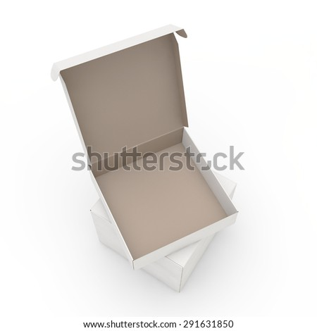 open cardboard box on a pile from the closed, top view - stock photo