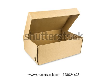 open cardboard box on white background,Clipping Path.