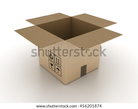 Open Cardboard Box on White Background - High Quality 3D Illustration/Rendering