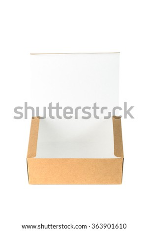 Open cardboard Box or brown paper package box isolated with soft shadow on White background