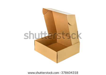 Open cardboard Box or brown paper package box isolated with soft shadow on White background - stock photo