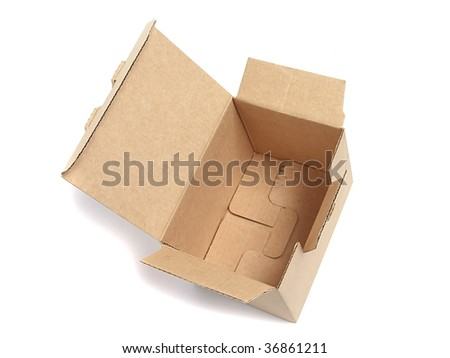 Open cardboard box over white
