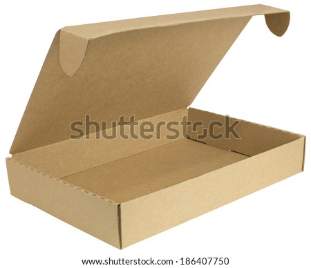 Open cardboard box with a lid. Isolated on white background - stock photo