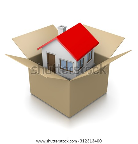Open Cardboard Box with House Inside 3D Illustration on White Background, Moving Concept - stock photo