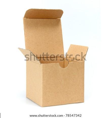 Open cardboard empty box isolated on white - stock photo