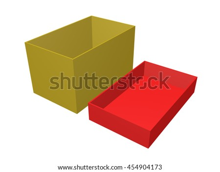 "Open Carton Gift Box Illustration Isolated On White Background. ""3d illustration"""