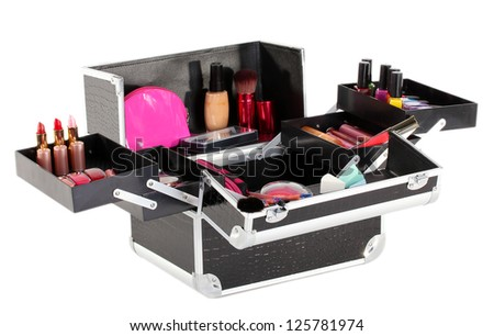 open case with cosmetics isolated on white - stock photo
