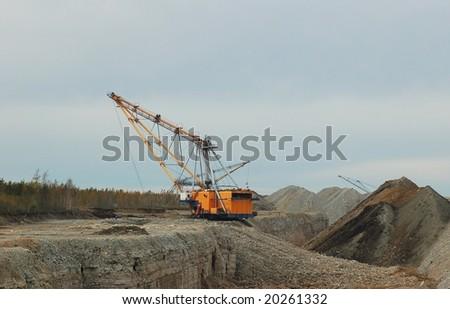 Open cast mining quarry - stock photo